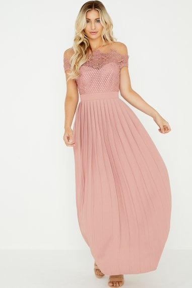 Gaby Apricot Lace Bardot Maxi Dress