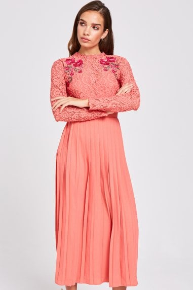 Casey Grapefruit Pleated Midaxi Dress