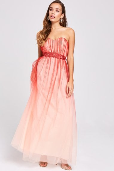 Carissa Grapefruit Floral Belt Maxi Dress