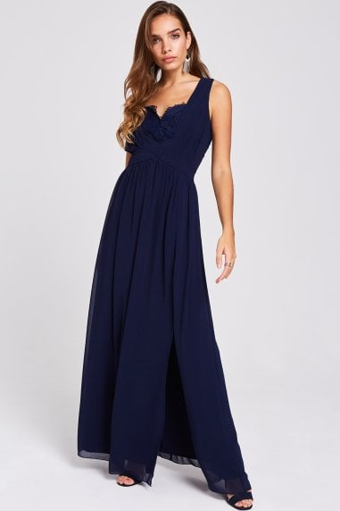 Raisa Navy Lace Back Maxi Dress