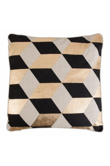 Zante White and Gold Geometric Diamond Cushion