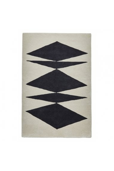Inaluxe Crystal Palace Black and Cream Hand Tufted Floor Rug