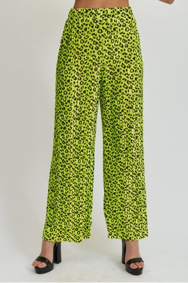 Green Animal Print Trousers
