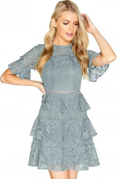 Sage Lace Tiered Skater Dress