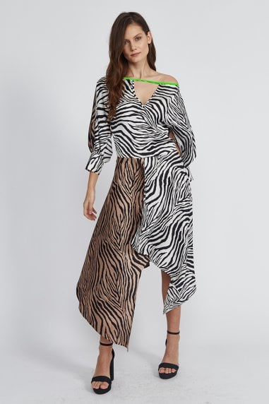 c8c9f146bbf2 Zebra Asymmetric Midi Dress