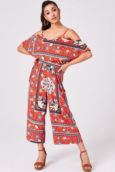 Bennett Red Scarf-Print Cold-Shoulder Culotte Jumpsuit