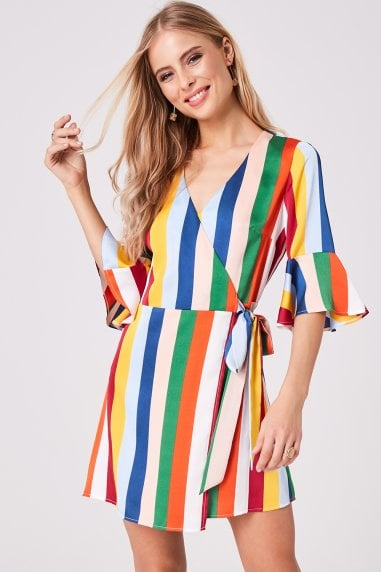 Solar Candy Stripe Wrap Dress