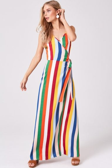 Nash Candy Stripe Maxi Wrap Dress