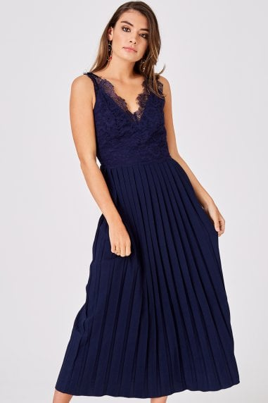 Ellis Navy Pleated Midaxi Dress