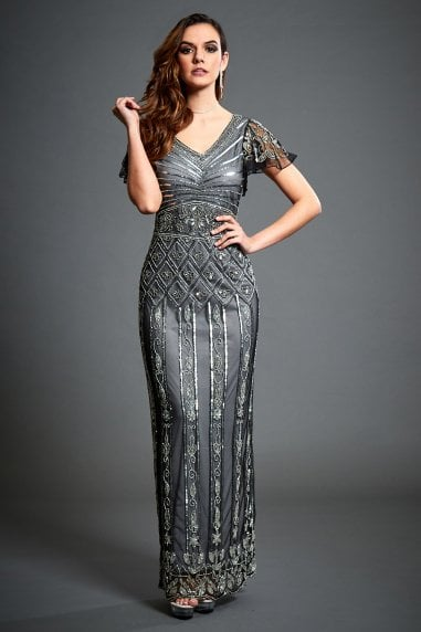 Virginia Grey Embellished Maxi Dress