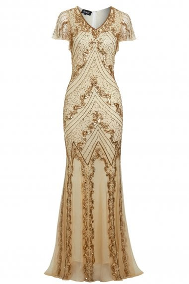 Helen Gold Embellished Mermaid Dress
