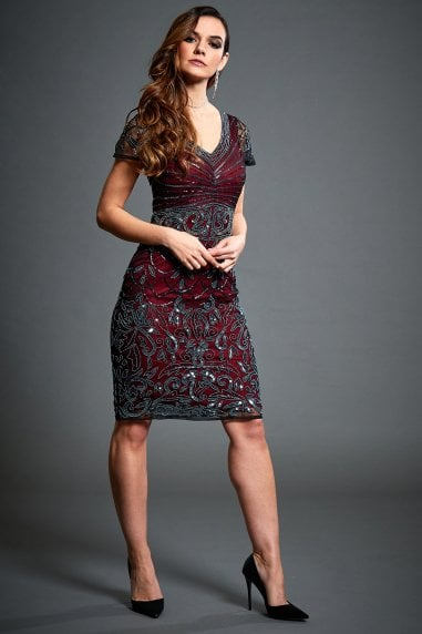 Silvia Wine Red Embellished Midi Flapper Dress
