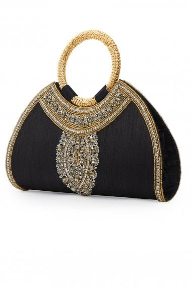 Amina Black Embellished Evening Purse