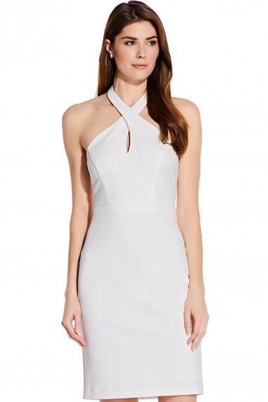 Ottoman Ivory Halter Sheath Dress