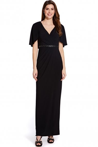 Black Long Draped Jersey Dress