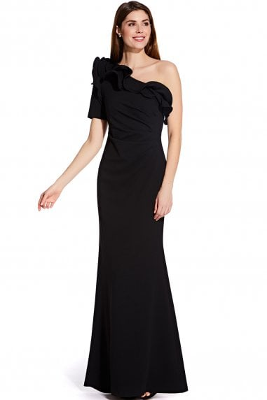 Black Long Draped Crepe Dress