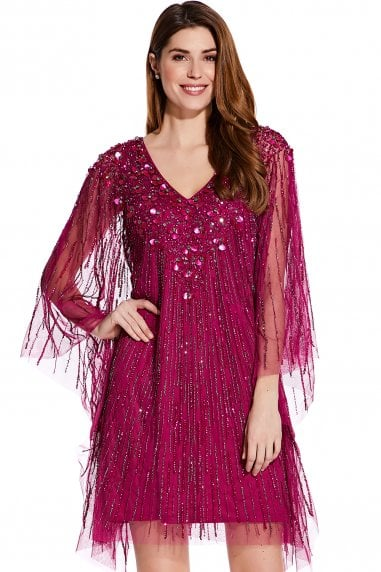 Red Plum Beaded Short Kaftan Dress
