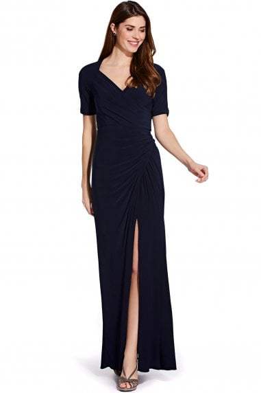 Midnight Draped Jersey Gown