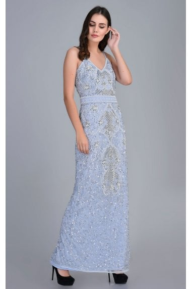 Emmi Blue Sequin Embellished Maxi Dress