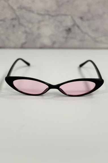 Atelier Black And Pink Sharp Cat Eye Sunglasses