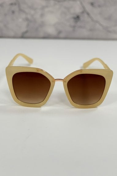 Mustique Cream Modern Minimal Square Sunglasses