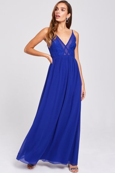 Sian Cobalt Lace Bodice Maxi Dress
