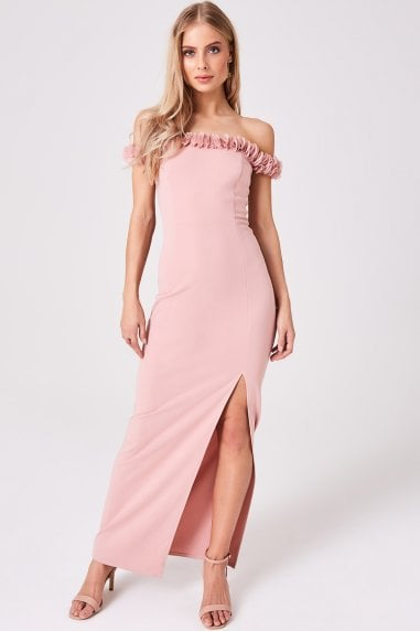 Splendour Dusty Pink Floral-Trim Bardot maxi Dress