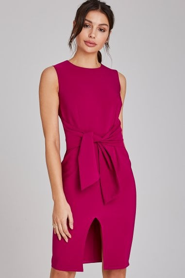 Lincoln Magenta Tie-Waist Pencil Dress