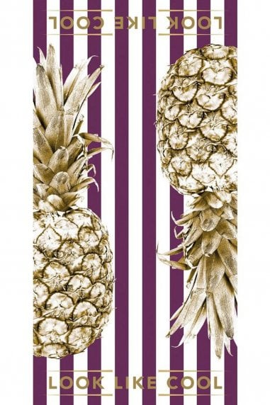 All About Aubergine Gold Pineapple Towel