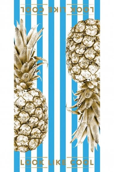 Brilliant Blue Gold Pineapple Towel