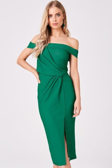 Essential Emerald Knot Detail Bardot Midi Dress
