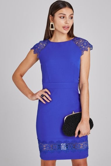 7b80bdc8d1 Chapel Cobalt Lace-Trim Bodycon Dress