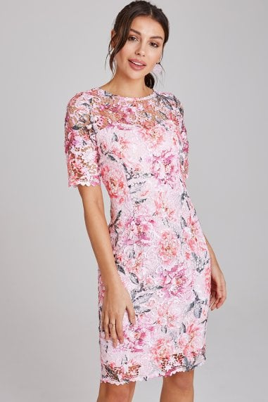Nantes Blush Floral-Print Lace Dress