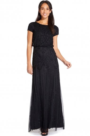 Black Short Sleeve Beaded Gown