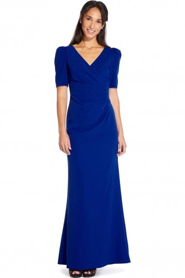 Royal Sapphire Elbow Sleeve Long Gown