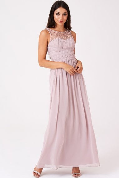 Bridesmaid Grace Mink Embellished Neck Maxi Dress