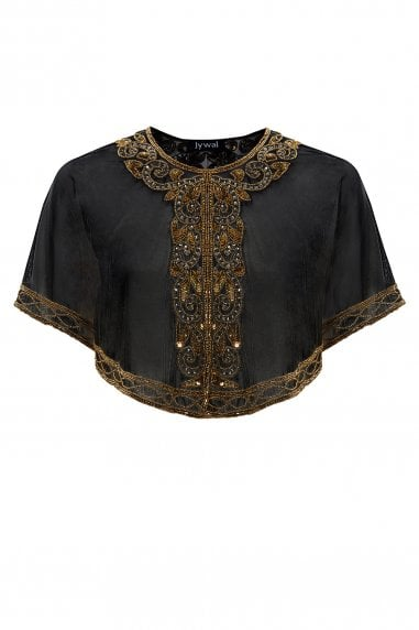 Victoria Black Embellished Gatsby Wedding Sheer Capelet