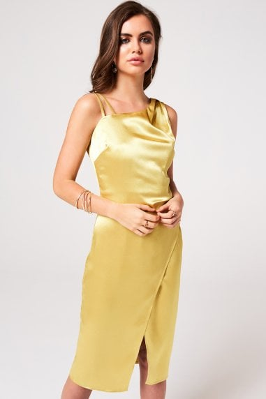 Kingly Yellow Satin Midi Slip Dress