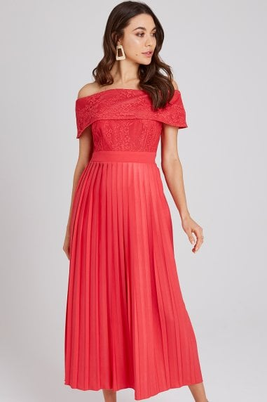 Selma Poppy Lace Bardot Midaxi Dress