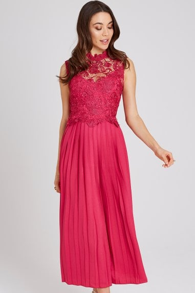b126f4c2a3 Frances Hot Pink Lace Midaxi Dress