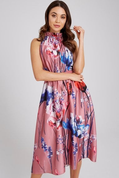 Elva Floral-Print Satin Midi Dress
