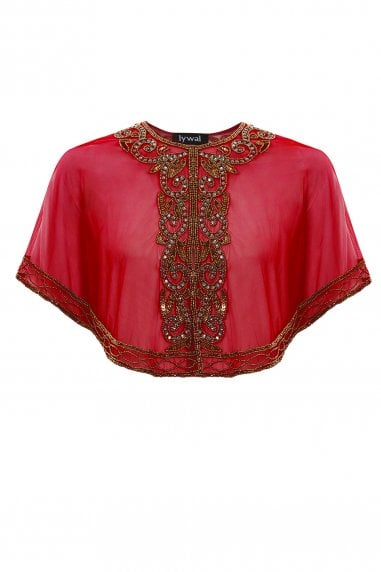 Victoria Red Embellished Gatsby Wedding Sheer Capelet
