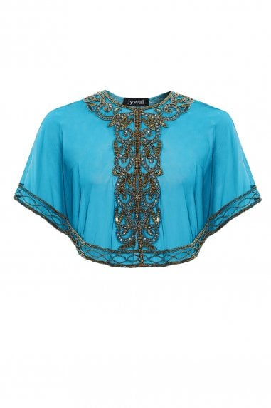 Victoria Turquoise Embellished Gatsby Wedding Sheer Capelet