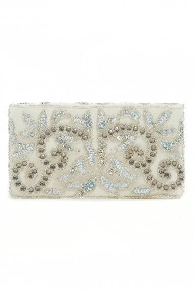 Eva Off-White Embellished Small Wedding Clutch Purse