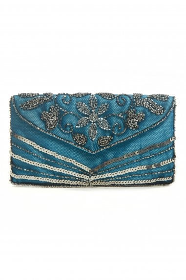 Victoria Blue Embellished Small Evening Clutch Purse