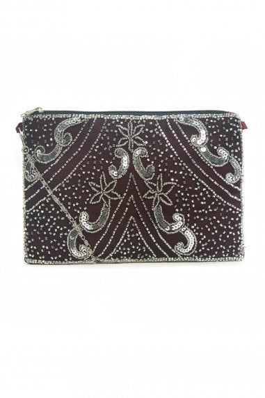Sophia Vine Red Embellished Small Evening Purse