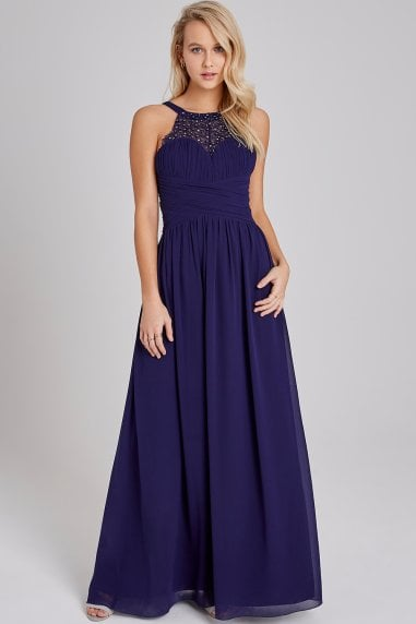 Bridesmaid Erin Navy Hand-Embellished Pearl-Trim Maxi Dress