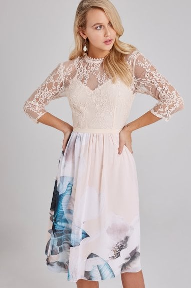 Kaitlin Placement-Print Lace Midi Dress