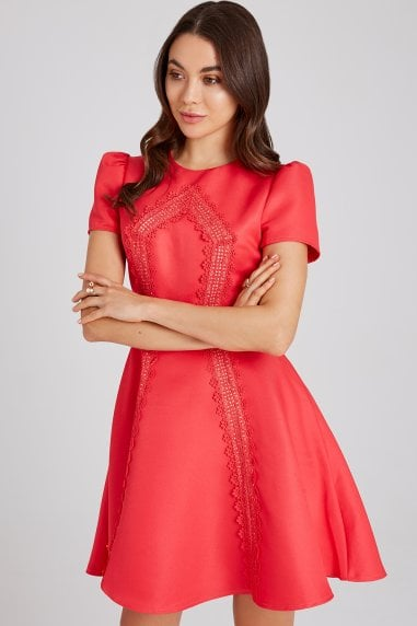 d253f24e3f9 Selma Poppy Lace-Trim Skater Dress