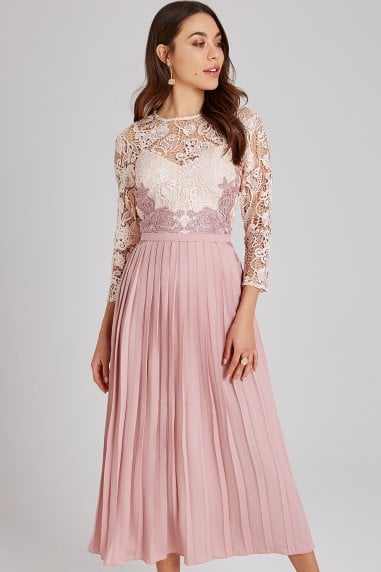Eloise Rose Lace Midi Dress